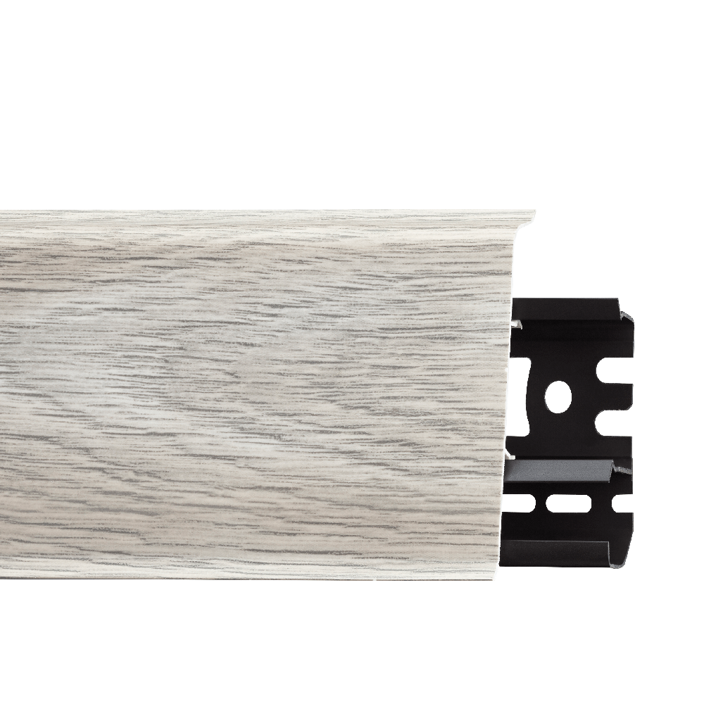 Plinta parchet cu canal cablu, PVC, stejar caucasian, INDO 70, 2500 mm imagine MatHaus