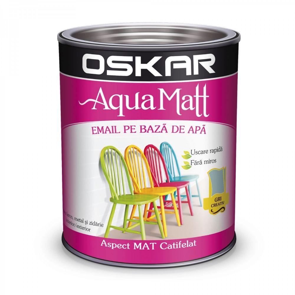 Vopsea email Oskar Aqua Matt, gri creativ, 2,5 l imagine MatHaus.ro