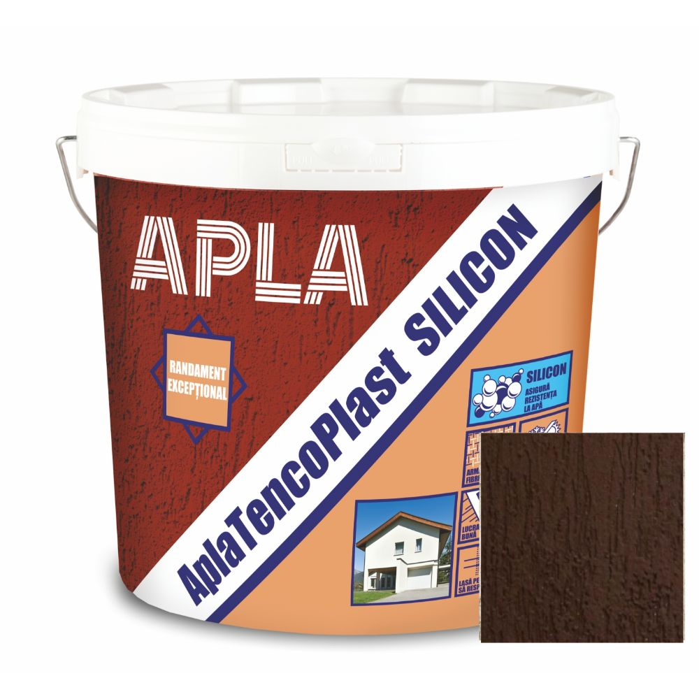 Tencuiala decorativa siliconica Apla TencoPlast, dark chocolate, granulatie 1,5 mm, exterior, 24 kg imagine 2021 mathaus