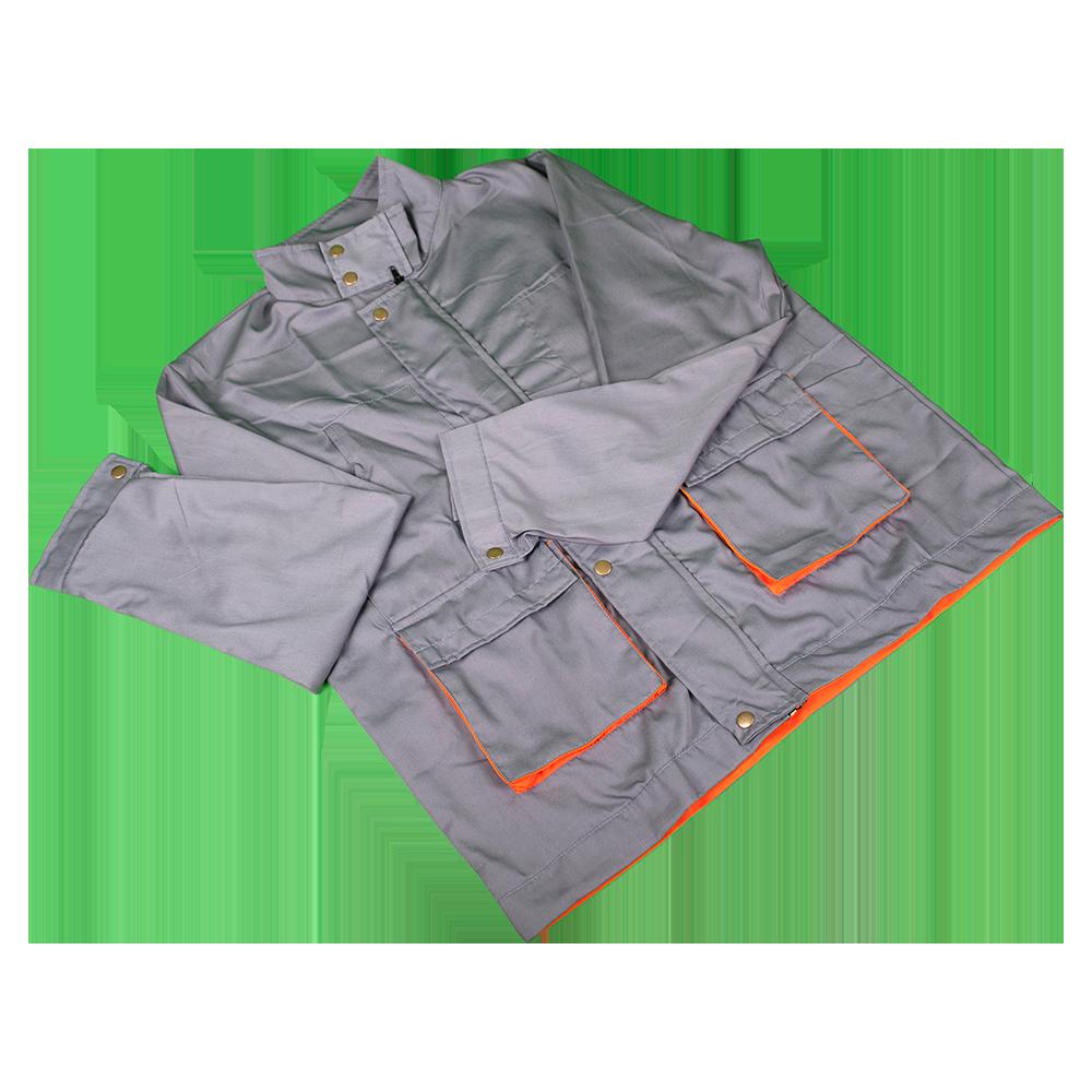 Jacheta de lucru Samoa cu 2 buzunare laterale, marimea 52, gri/portocaliu mathaus 2021
