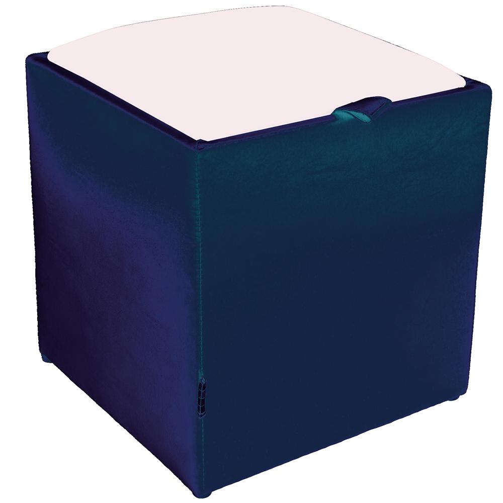 Taburet Box alb/ albastru Ip, 37 x 37 x 42 cm imagine MatHaus.ro
