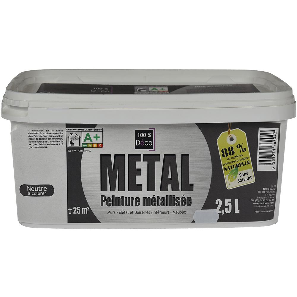 Vopsea decorativa cu efect metalizat, Senideco Metal, baza neutra, 2.5 L