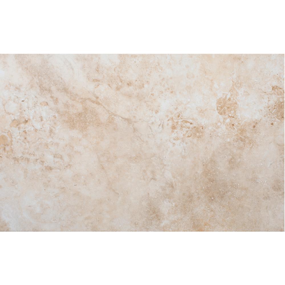Faianta Dual Gres New England Marfil, alba cu insertii caramizii, aspect de marmura, lucioasa, 25 x 40 cm imagine MatHaus.ro