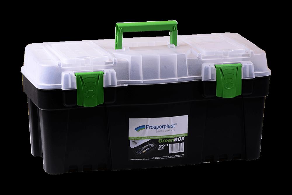 Cutie scule Prosperplast Greenbox N22G cu capac transparent, neagra, 550 x 267 x 270 mm