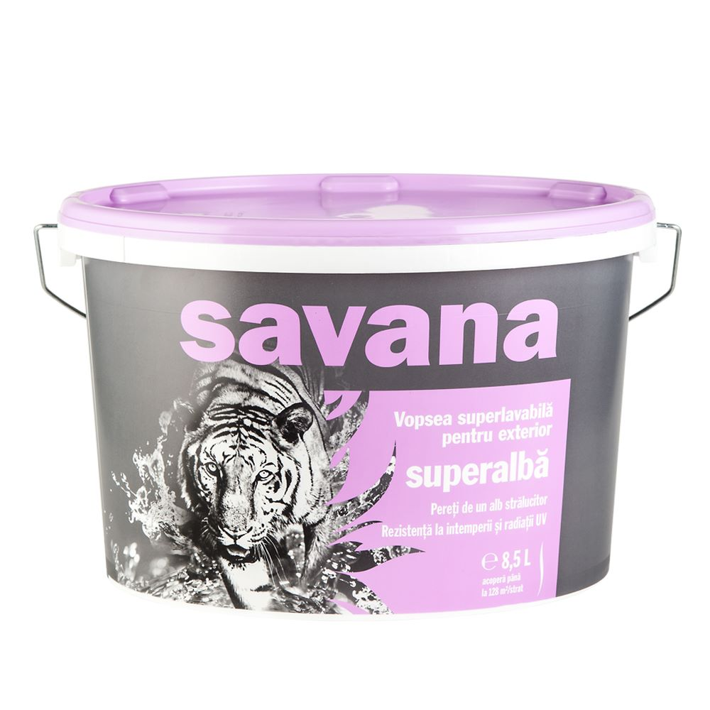 Vopsea superlavabila exterior, Savana, superalba, 8,5 L