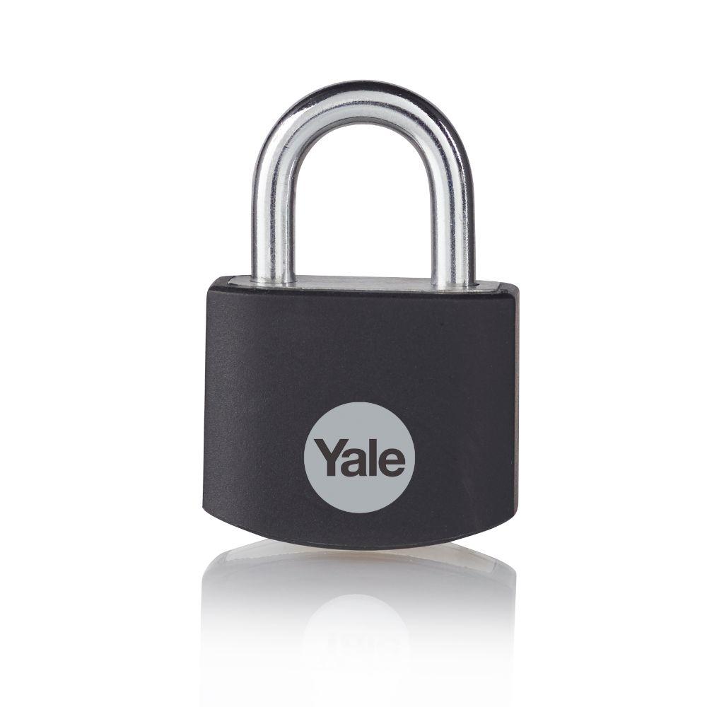 Lacat din aluminiu, Yale Standard Protection, l 25mm, 3 chei imagine MatHaus.ro