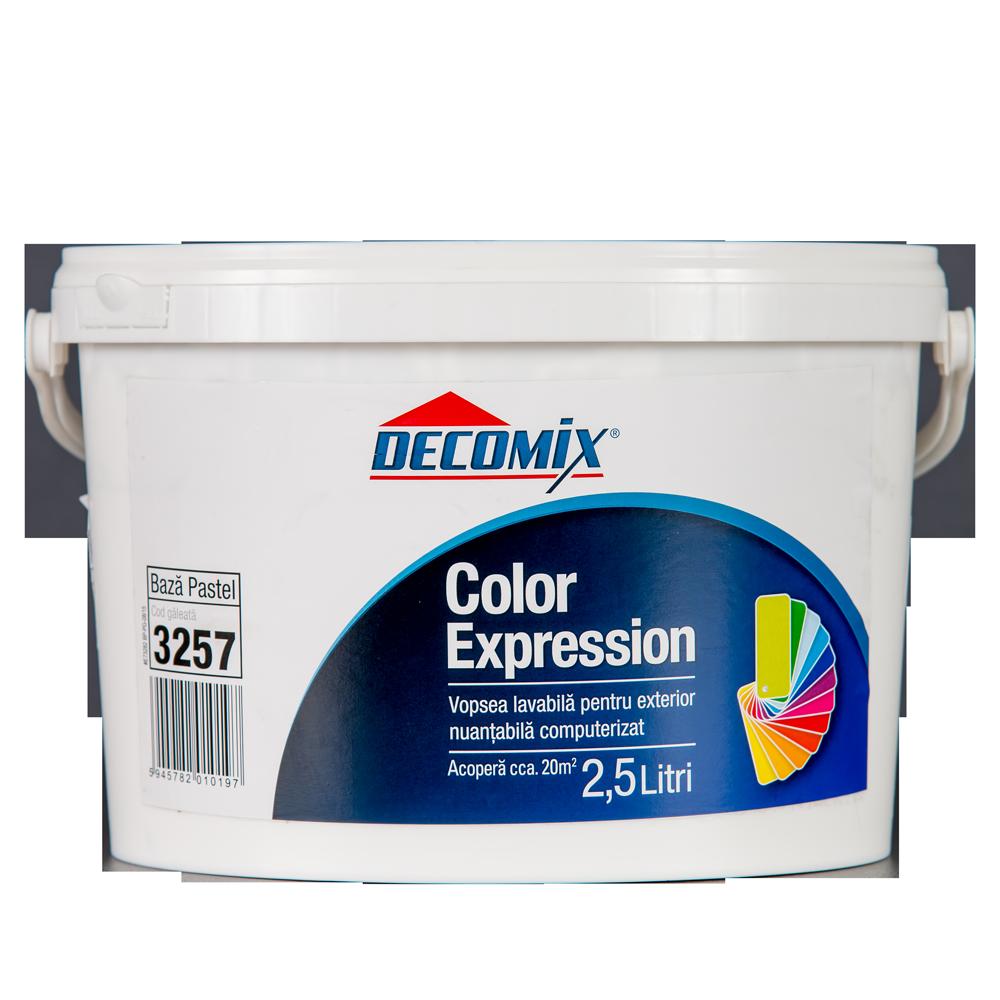 Vopsea pentru exterior, Decomix Color Expression Baza Pastel, 2,5 L