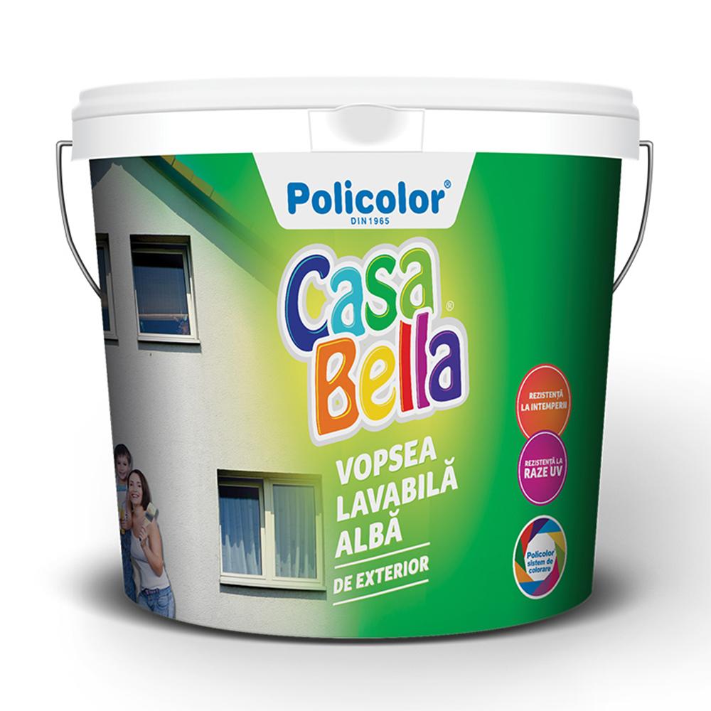 Vopsea lavabila exterior, Casabella, alba, 8,5 L