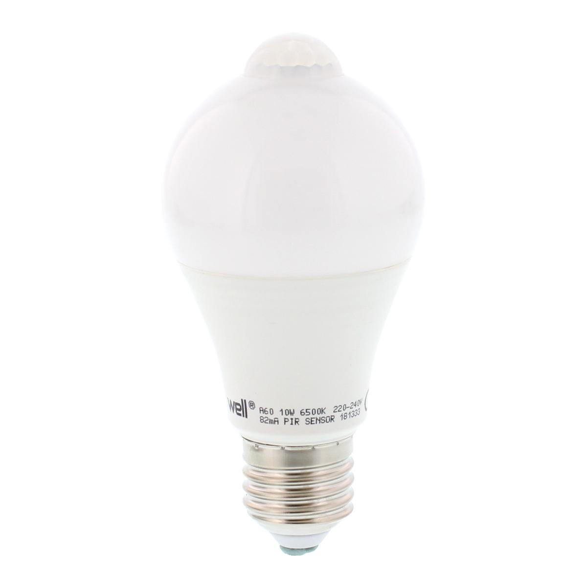 Bec LED cu senzor de miscare, 10W, E27, A60, lumina rece mathaus 2021