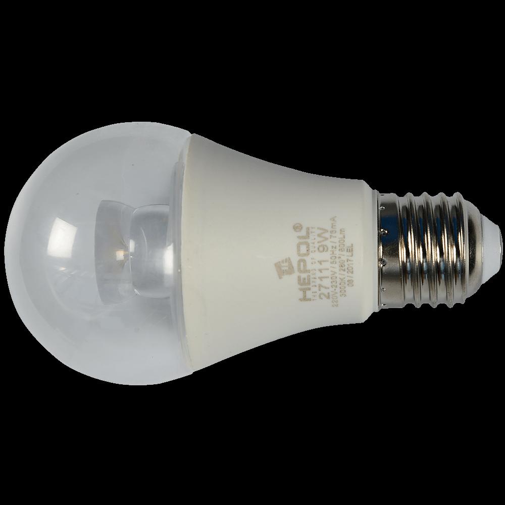 Bec Led Transparent E27 A60 9W Hepol Lumina Calda imagine MatHaus.ro