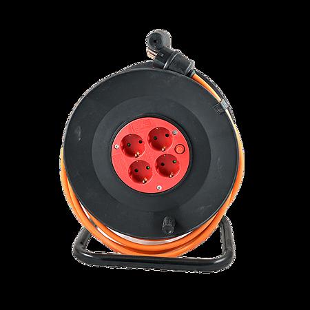 Tambur derulator cablu electric, 4 prize, 3 x 2,5 mm, 30 m, portocaliu