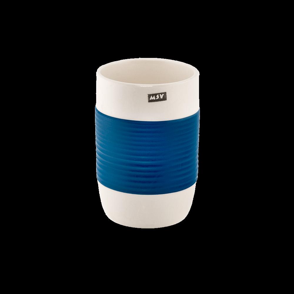 Pahar de baie Romtatay Moorea, ceramica, alb-albastru, 7 x 10.5 cm imagine 2021 mathaus
