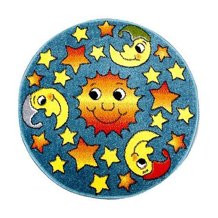 Covor rotund Kolibri 11081/140, polipropilena friese, model modern multicolor cu soarele si luna, diametru 67 cm