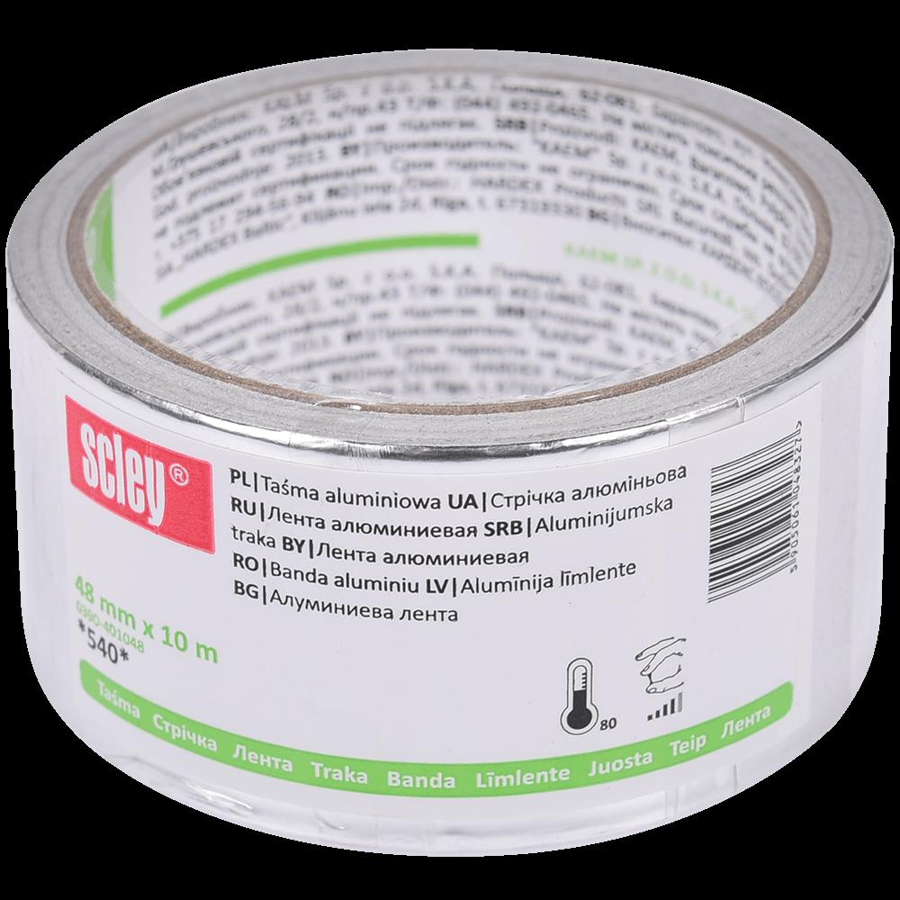 Banda adeziva Scley, *540*, cu folie aluminiu, 48 mm x 10 m