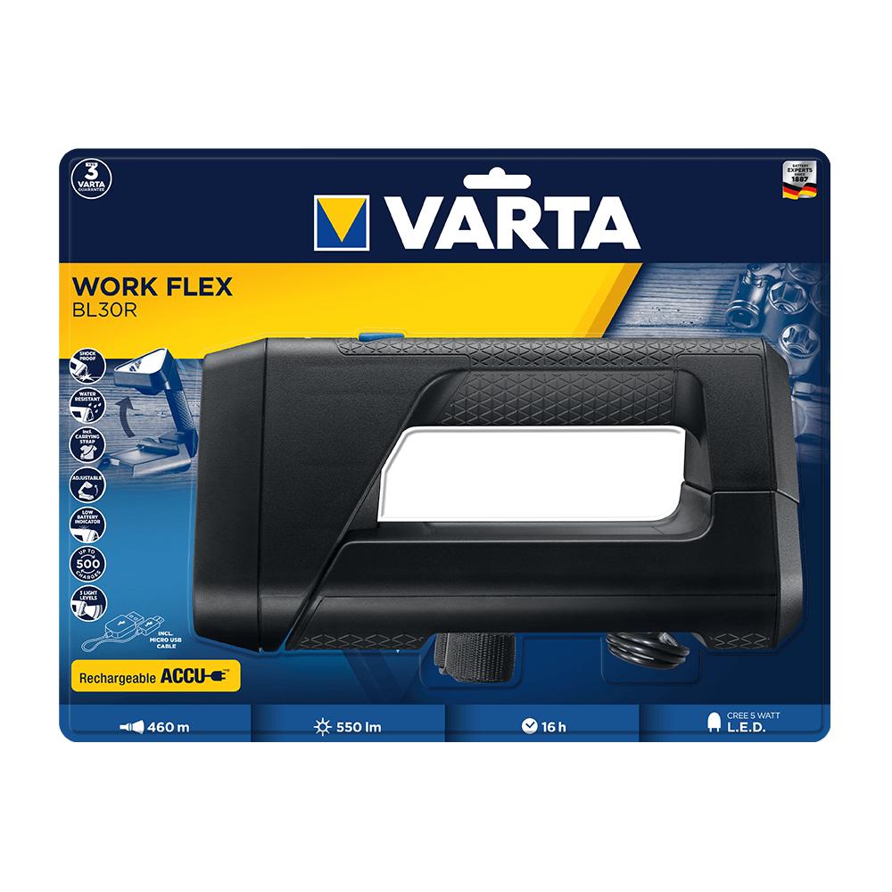 Lanterna LED de lucru Varta Work Flex BL30R, cu acumulator, 5W, 550 lm, 3 moduri de iluminare, cablu USB mathaus 2021