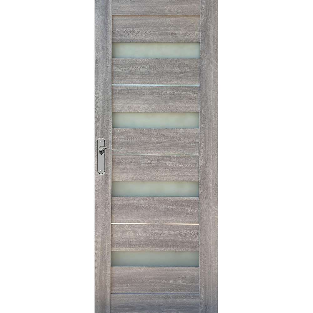 Usa interior cu geam Pamate U76, gri, 203 x 70 x 3,5 cm + toc 10 cm, reversibila imagine MatHaus.ro