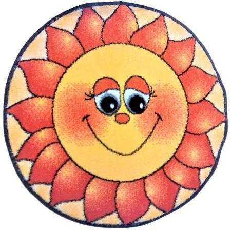 Covor rotund Kolibri, polipropilena friese, model modern cu soare, diametru 67 cm