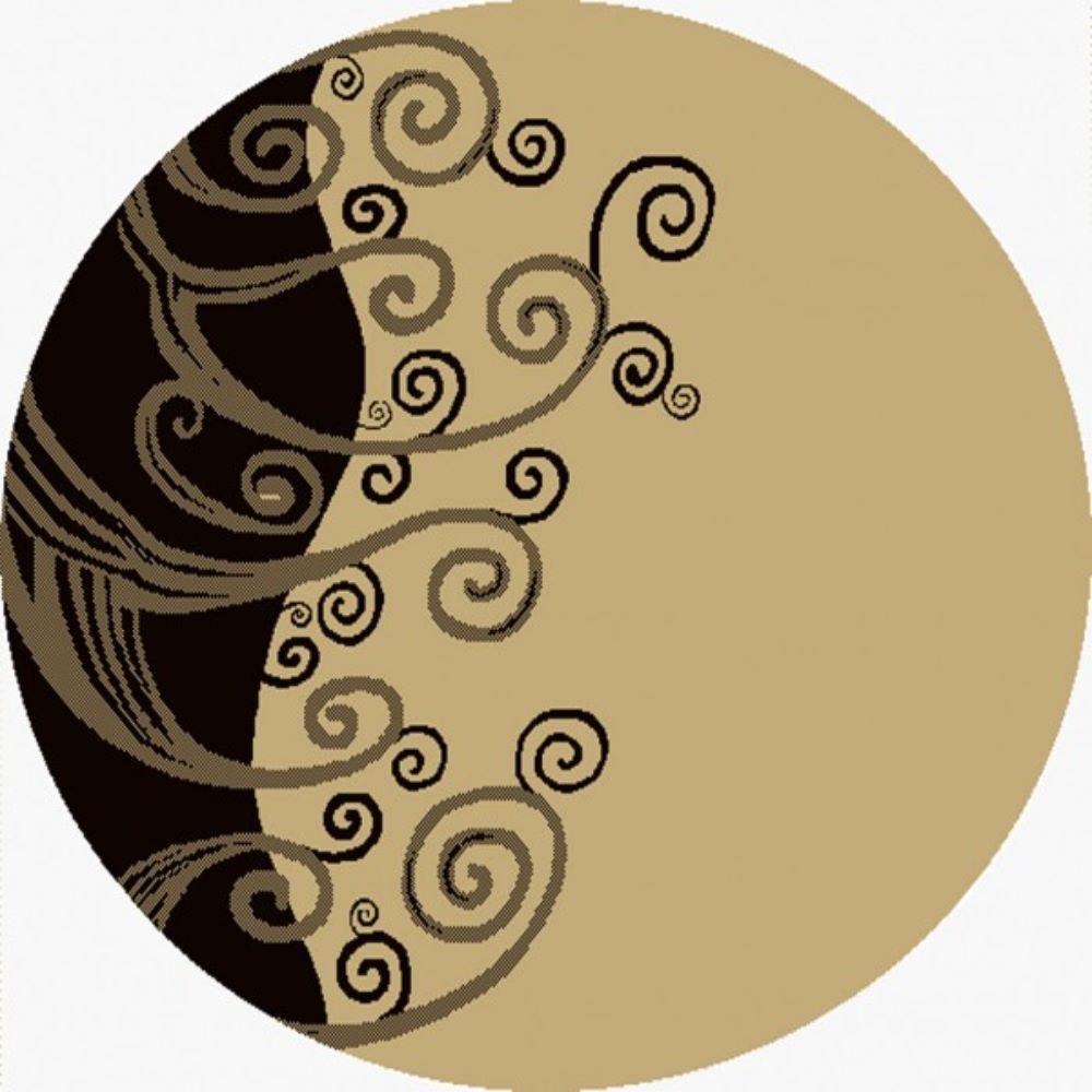 Covor rotund Evrika 4339 607, polipropilena, model abstract bej-negru, 180 cm imagine 2021 mathaus