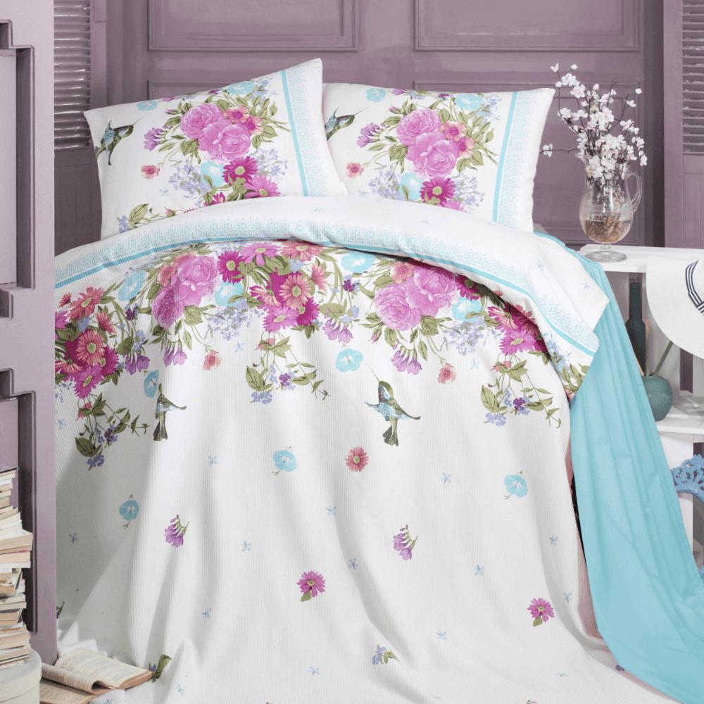 Lenjerie de pat Spring Mavi Pike Cintia Mint, 2 persoane, bumbac, 4 piese, motive florale
