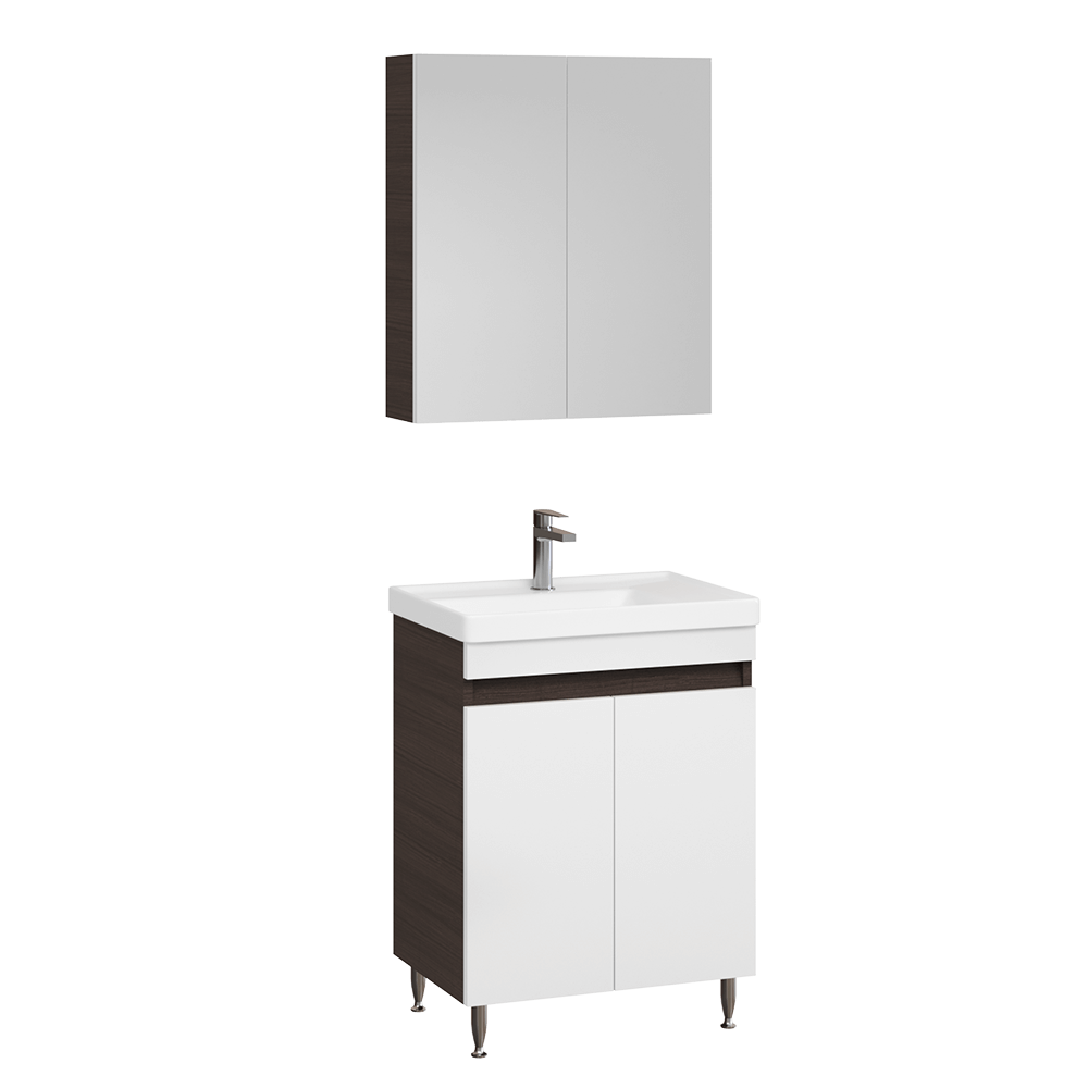 Set mobilier baie Badenmob Seria 286, masca cu setare + lavoar + oglinda, wenge imagine 2021 mathaus