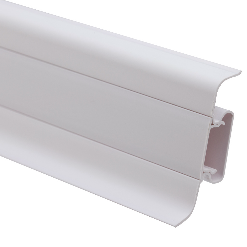Plinta parchet, cu canal cablu, PVC, alb 101, 2500x52x22,5 mm imagine MatHaus