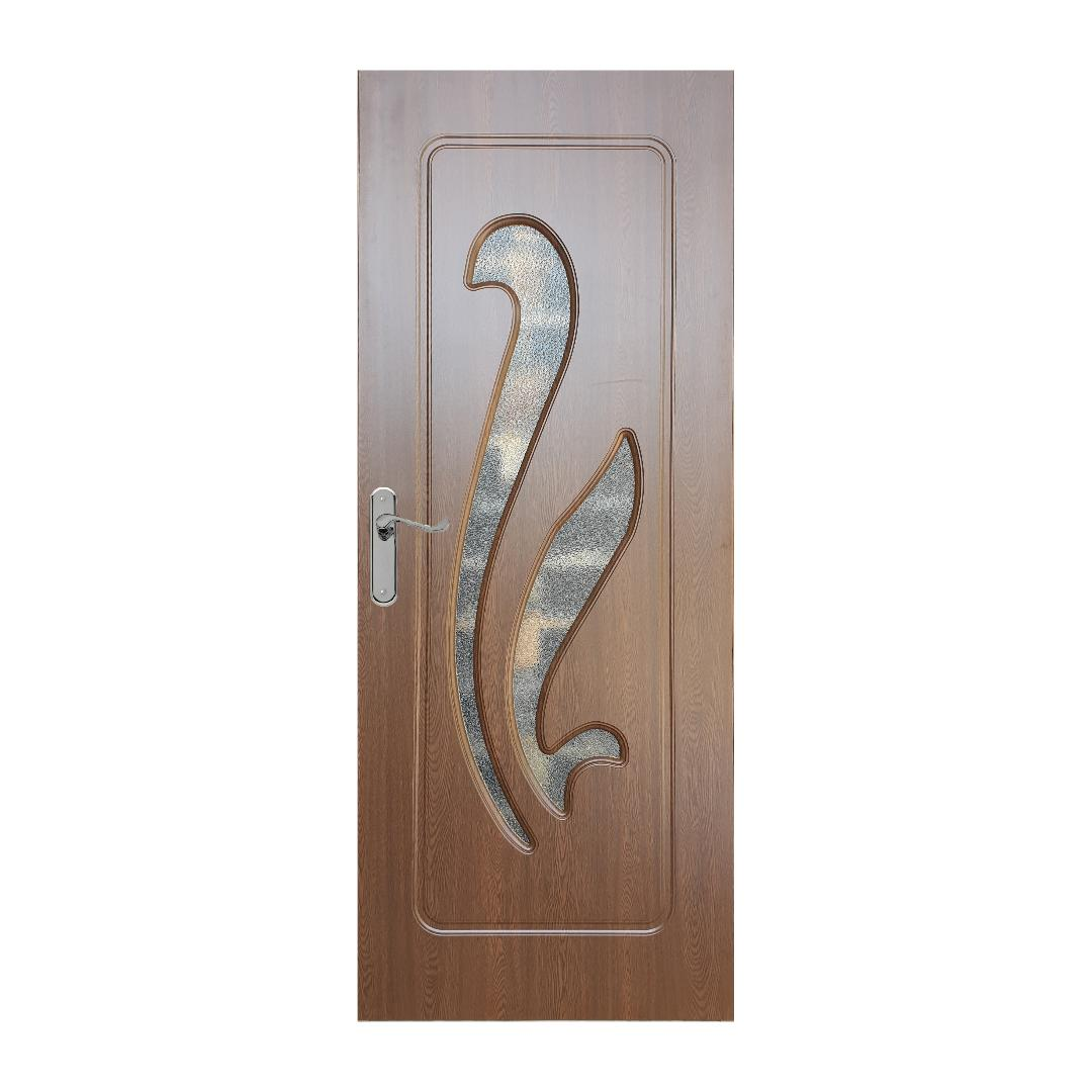 Usa interior cu geam Pamate M033, stejar auriu, 203 x 80 x 3,5 cm + toc reglabil, reversibila