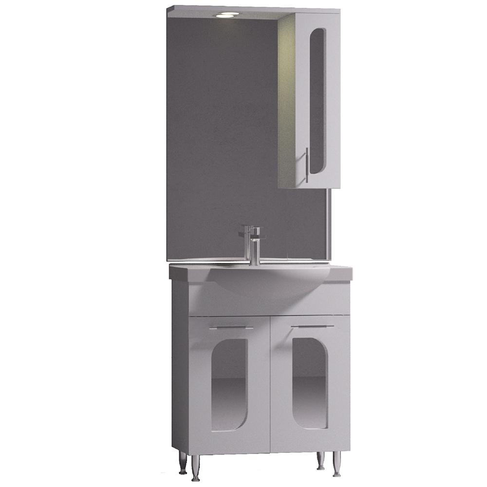 Set mobilier baie Badenmob Seria 110-65, masca + lavoar + oglinda, alb imagine 2021 mathaus