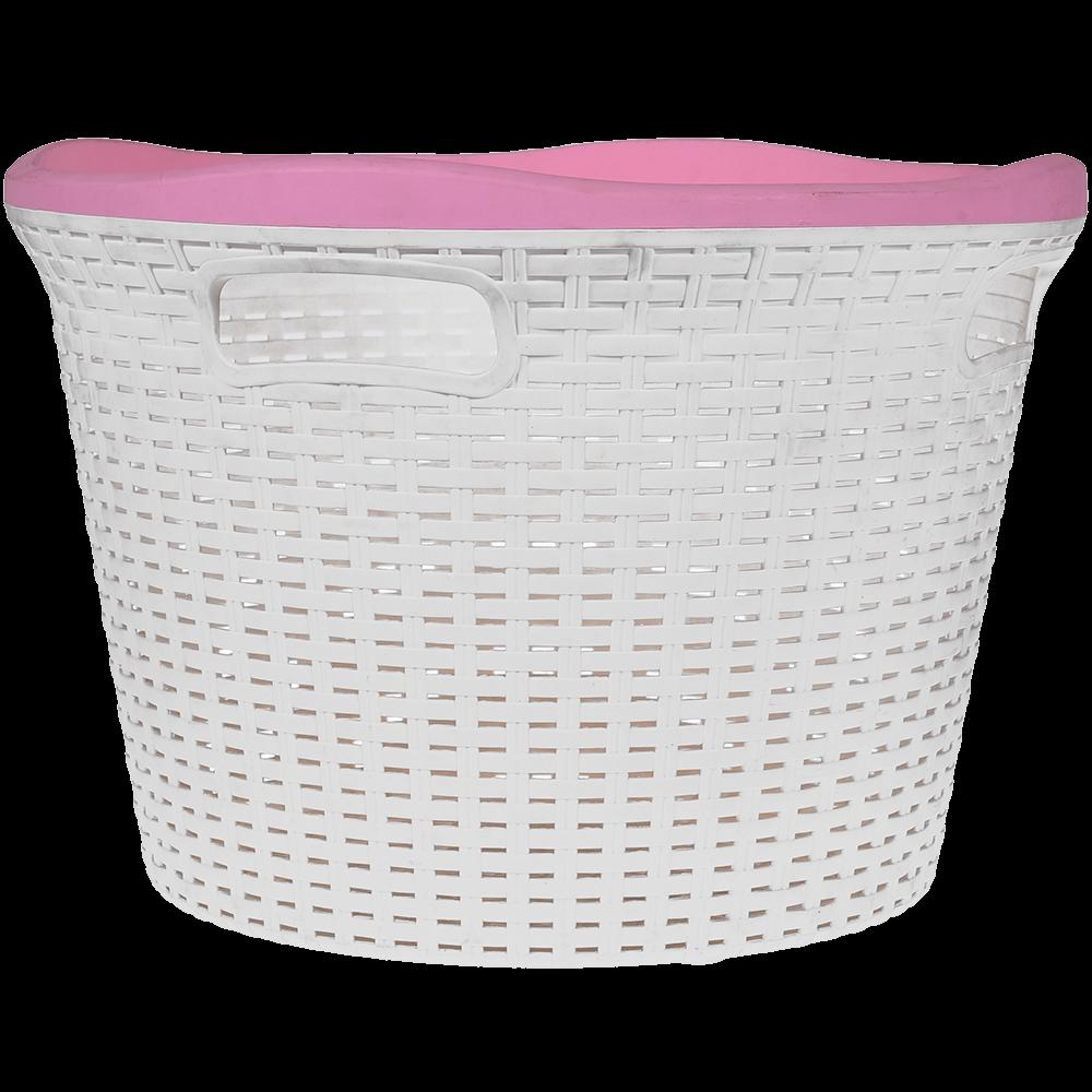 Cos rufe Mara rattan, plastic, alb + roz, 45 x 45 x 30.5 cm