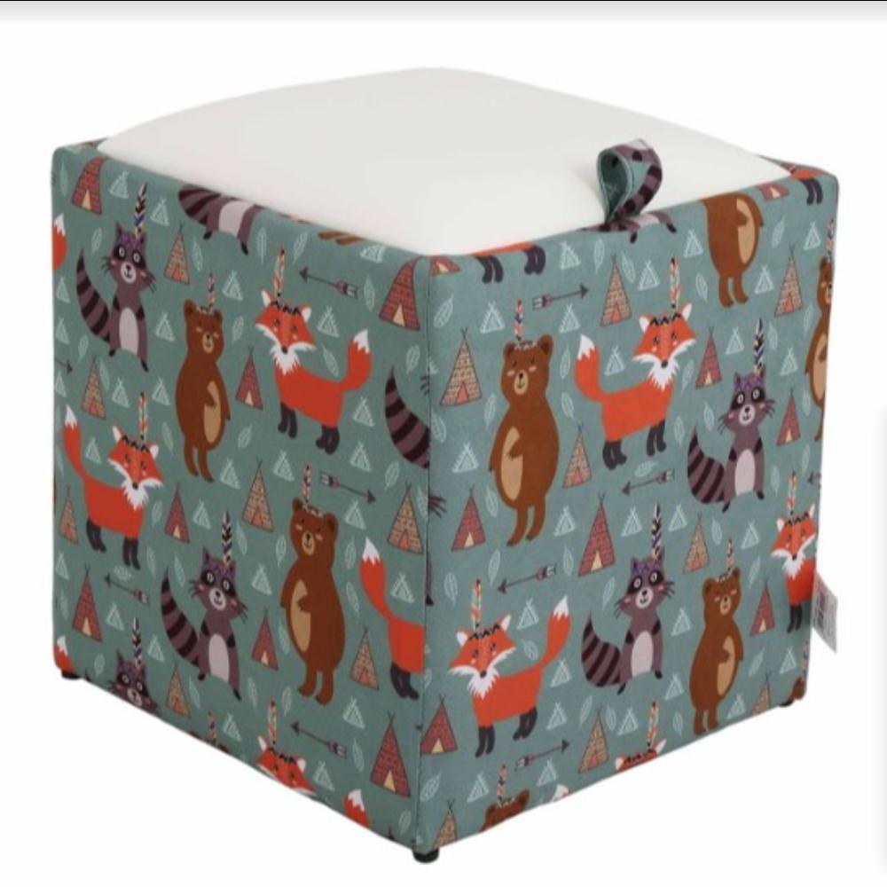 Taburet Box piele ecologica, microfibra, multicolor, cu depozitare, 37 x 37 x 42 cm imagine MatHaus.ro