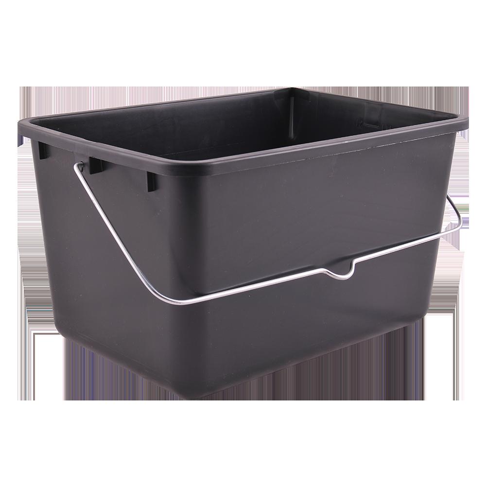 Galeata dreptunghiulara din plastic cu toarta metal, Color Expert, gri, 12 L