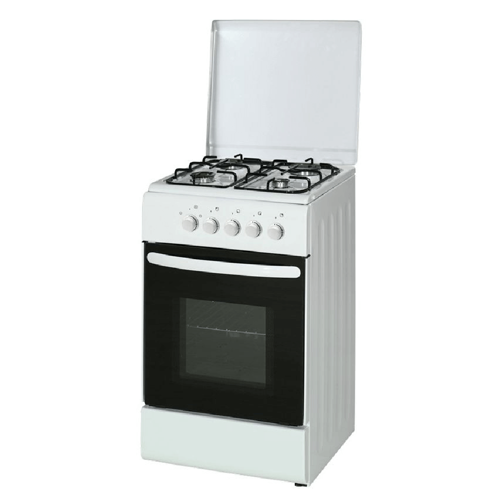 Aragaz clasic alb Eko Hausberg HB-007AB pe gaz , 50x60 cm, 4 arzatoare, capac metal, accesorii imagine 2021 mathaus