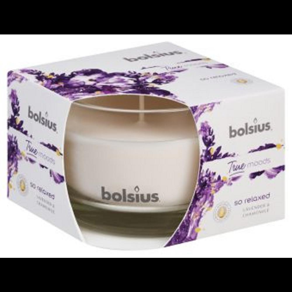 Lumanare parfumata Bolsius True Moods So Relaxed, alb, lavanda si musetel, 63 x 90 mm imagine 2021 mathaus