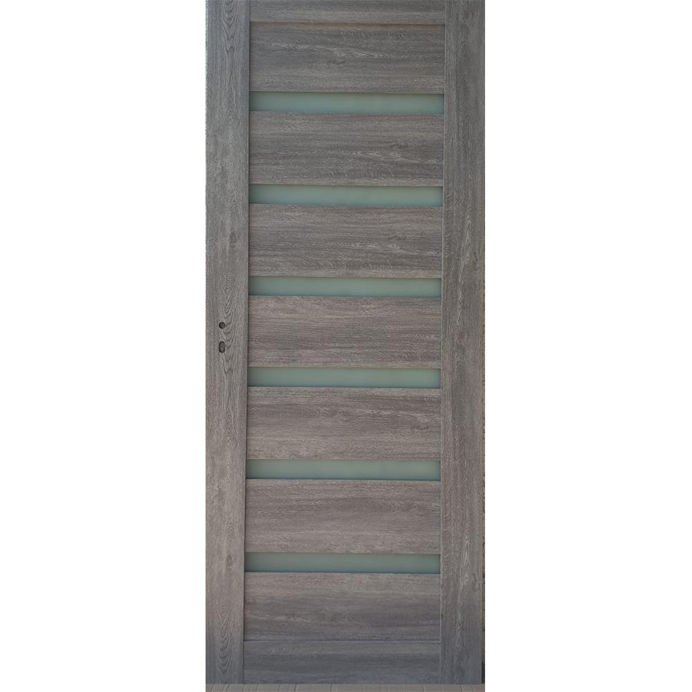 Usa interior cu geam Pamate U73, gri, 203 x 60 x 3,5 cm + toc 10 cm, reversibila mathaus 2021