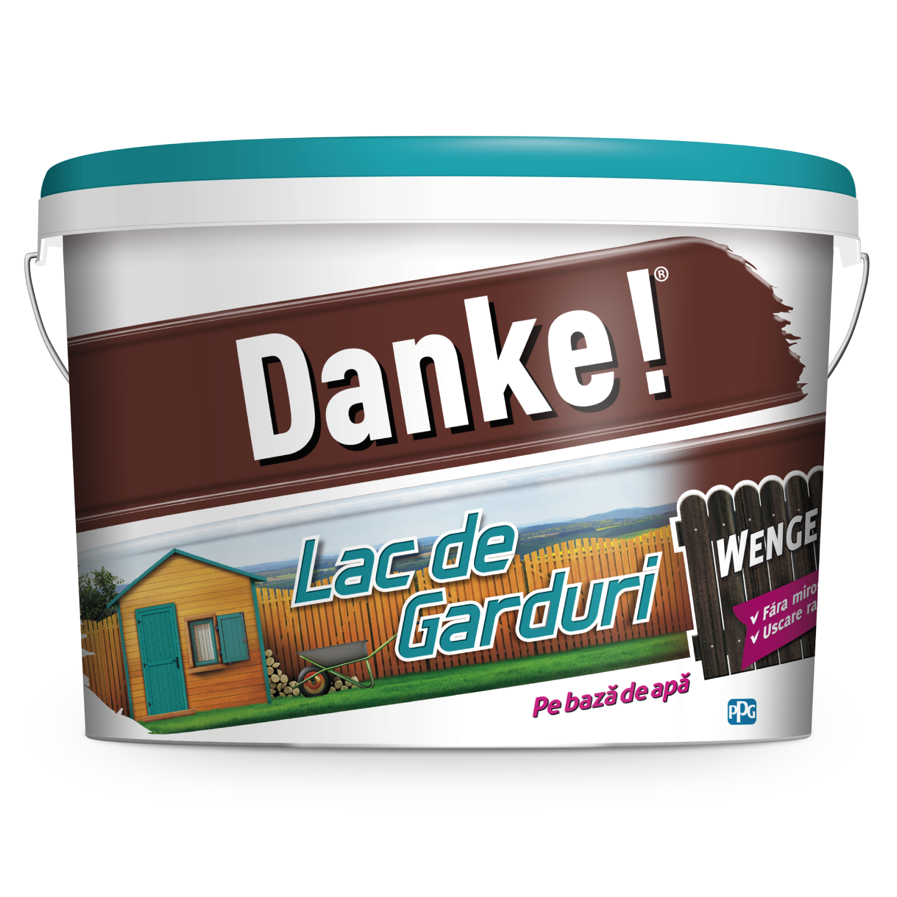 Lac pentru lemn Danke pentru garduri, wenge, pe baza de apa, interior/exterior, 4 l