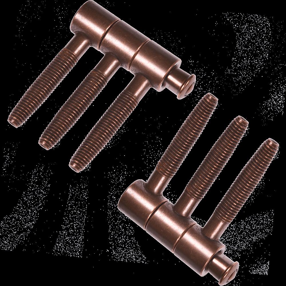 Balama cilindrica cu trei tije, D 16 mm, H 46 mm, finisaj cupru antic, 2 buc