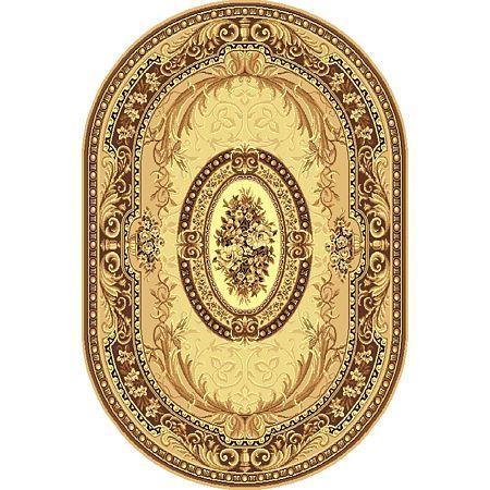 Covor clasic Gold 042/12AO, polipropilena BCF, model oval, bej/maro, 80 x 150 cm
