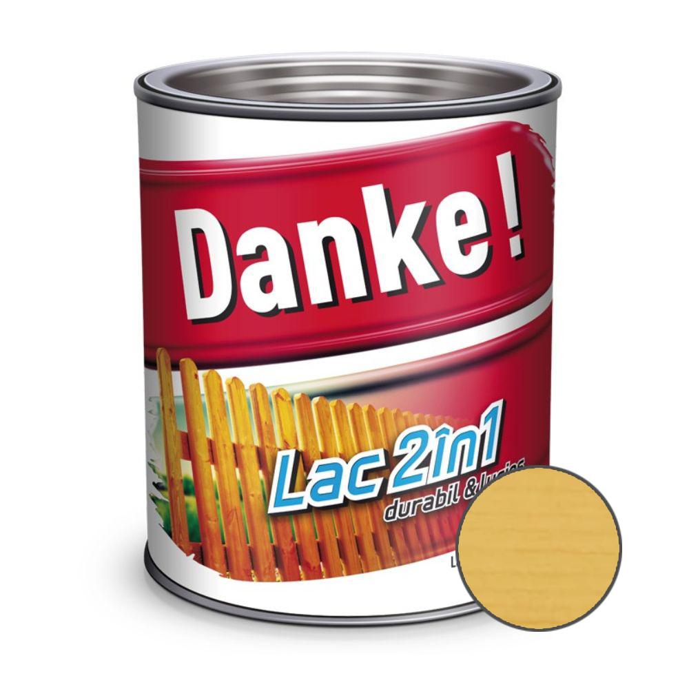 Lac pentru lemn 2 in 1, Danke!, incolor, interior/exterior, 0.75L