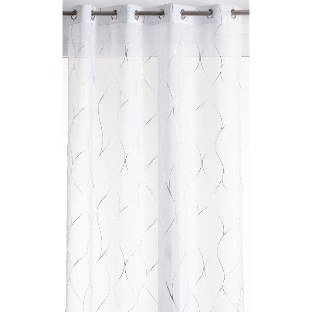 Perdea  Vibration,  poliester, alb cu imprimeu argintiu 011, 140 x 260 cm