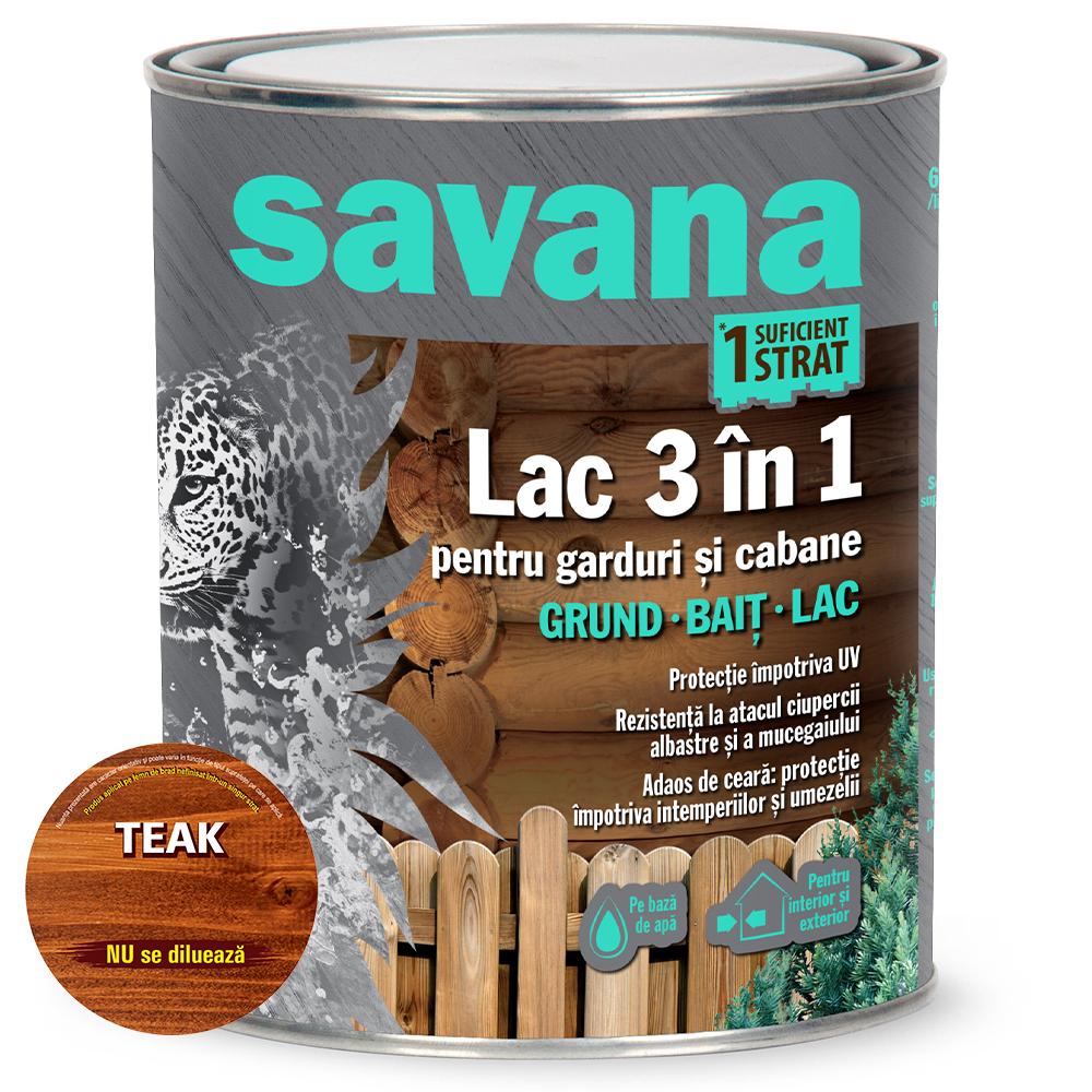 Lac 3 in 1 Savana garduri si cabane, teak, pe baza de apa, interior / exterior, 0,75 l imagine 2021 mathaus