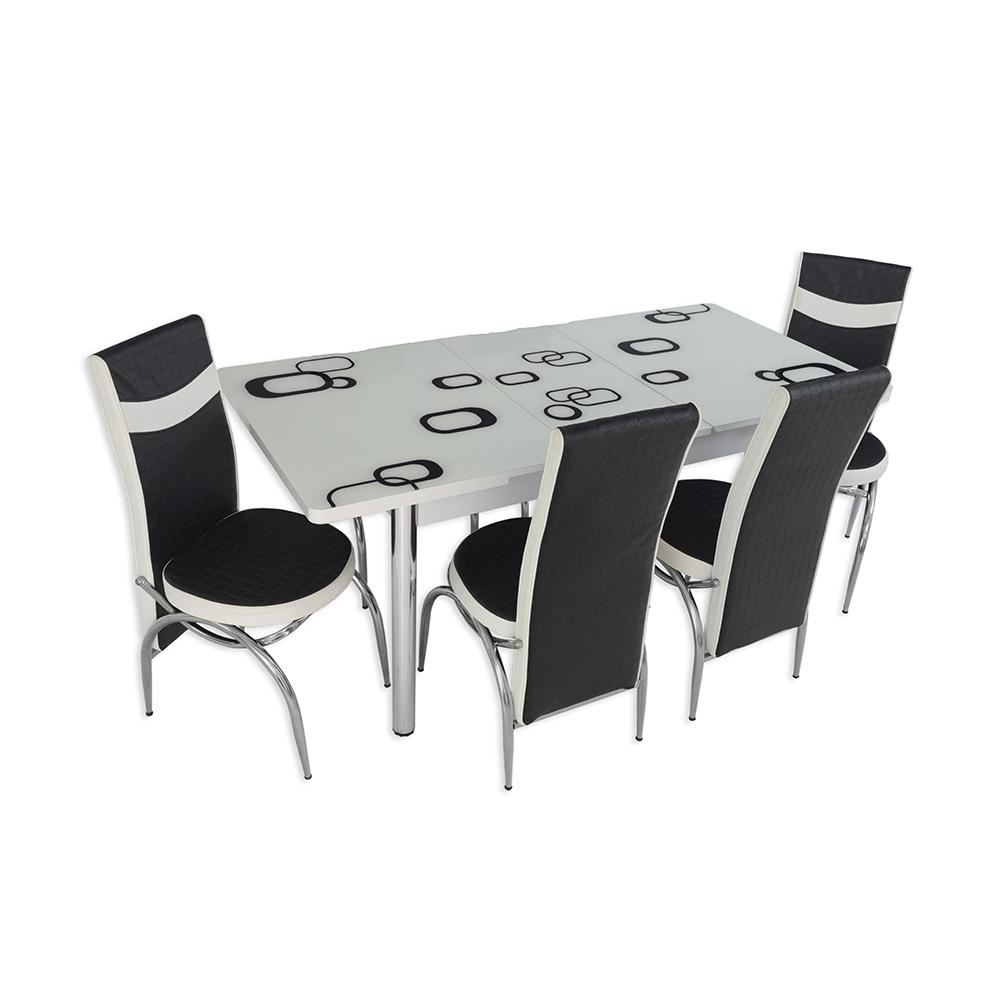 Set masa extensibila, 4 scaune, alb/patrat – alb/negru imagine 2021 mathaus