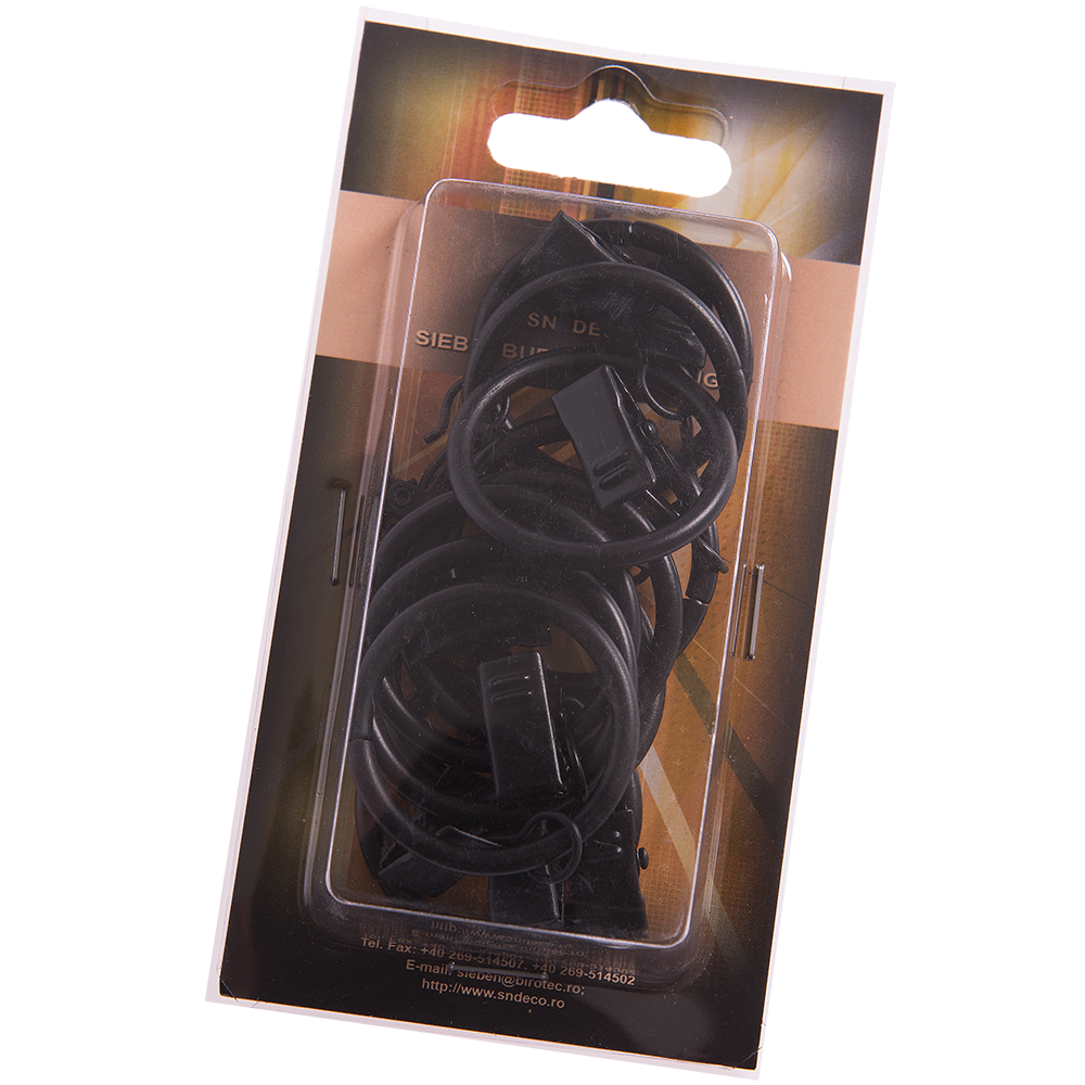 Inel galerie metal forjat, 20 mm + clema, negru, set 10 buc imagine 2021 mathaus