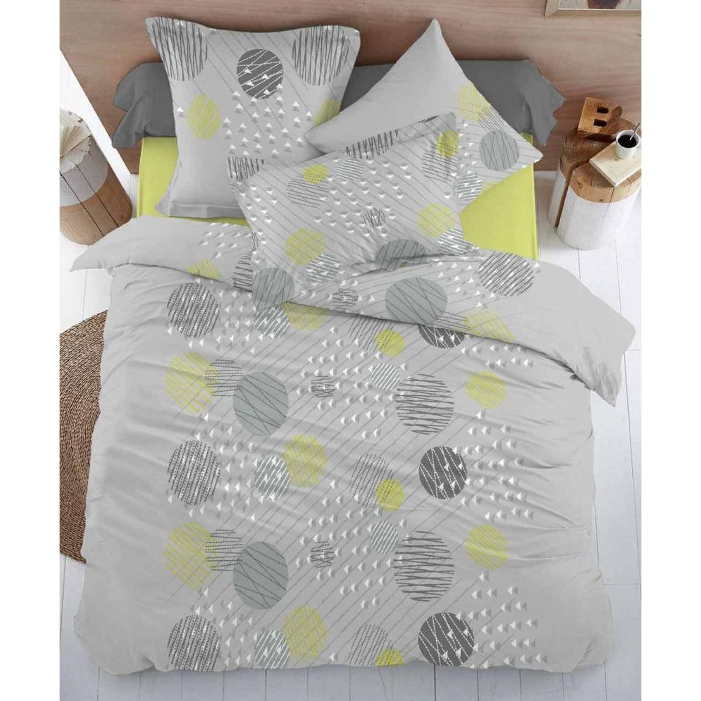 Lenjerie pat 1 persoana Minet Conf, 3 piese, bumbac 100% , forme geometrice, gri - verde