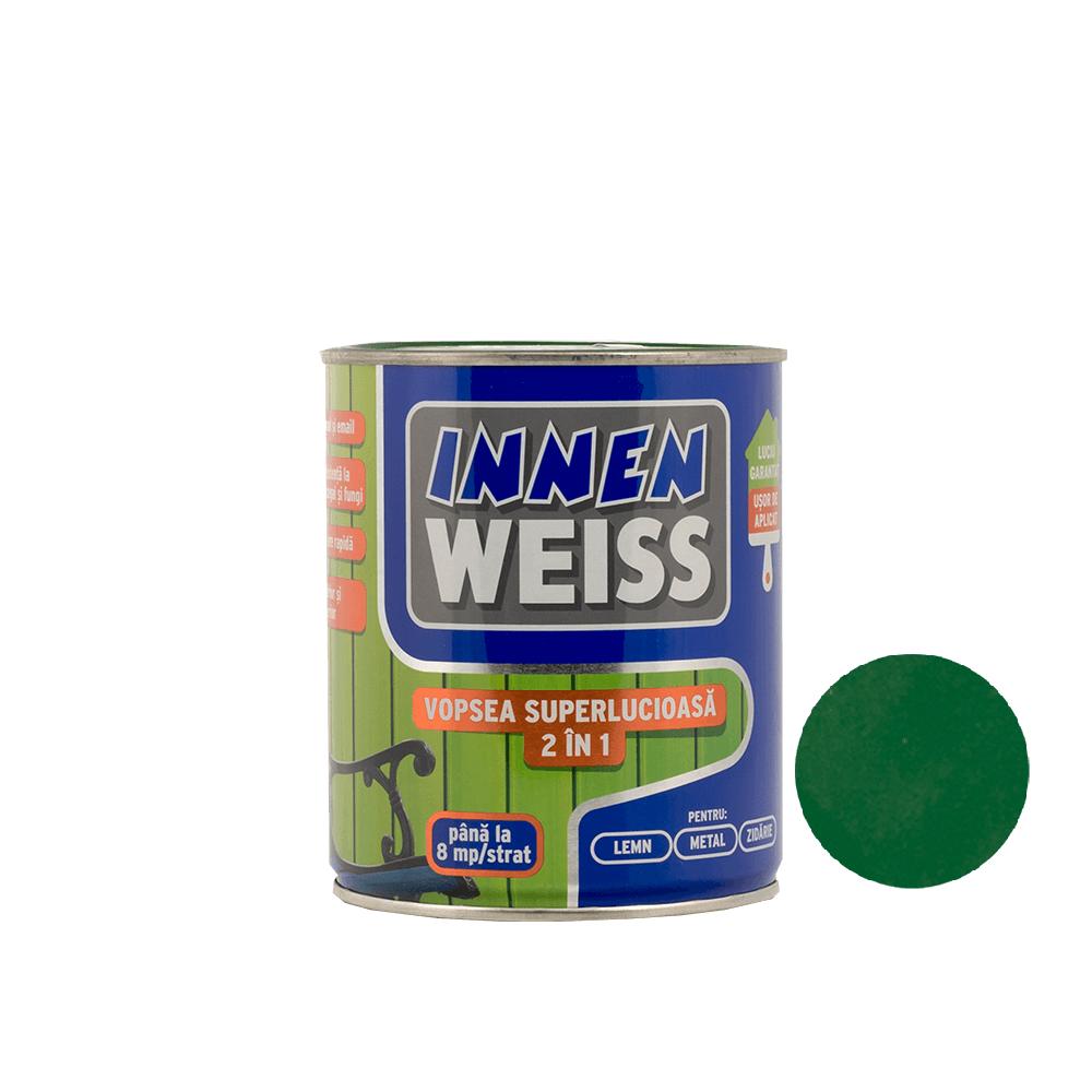 Vopsea superlucioasa 2 in 1 Innenweiss, verde, 0,6 l imagine MatHaus.ro