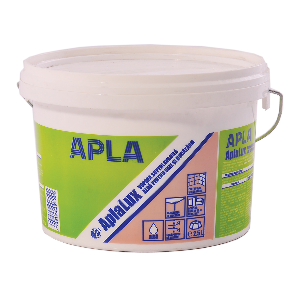 Vopsea superlavabila pentru baie si bucatarie, antimucegai, Aplalux, alba, 2,5L