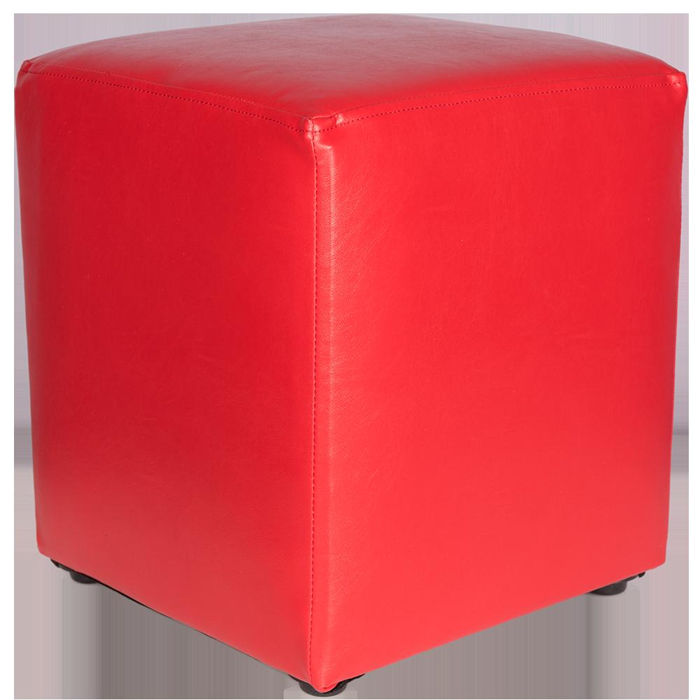 Taburet Cube tapiterie piele ecologica rosu IP 21900 45x37x37 cm
