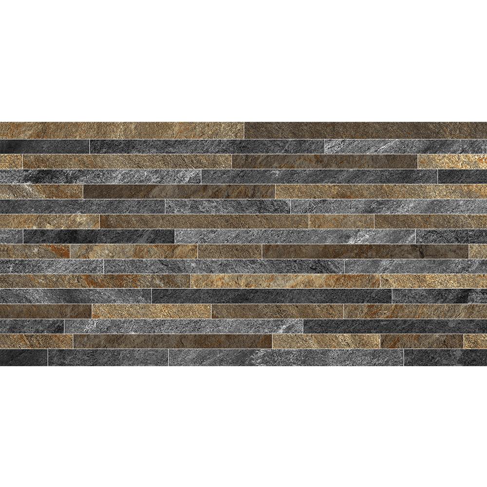 Gresie portelanata Keramin Montana 2D PEI 3, maro-gri mat, dreptunghiulara, textura in relief, 30 x 60 cm imagine 2021 mathaus