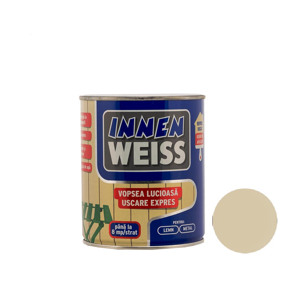 Vopsea lucioasa Innenweiss, pentru lemn/metal, interior/exterior, uscare expres, crem, 0,6 l imagine 2021 mathaus