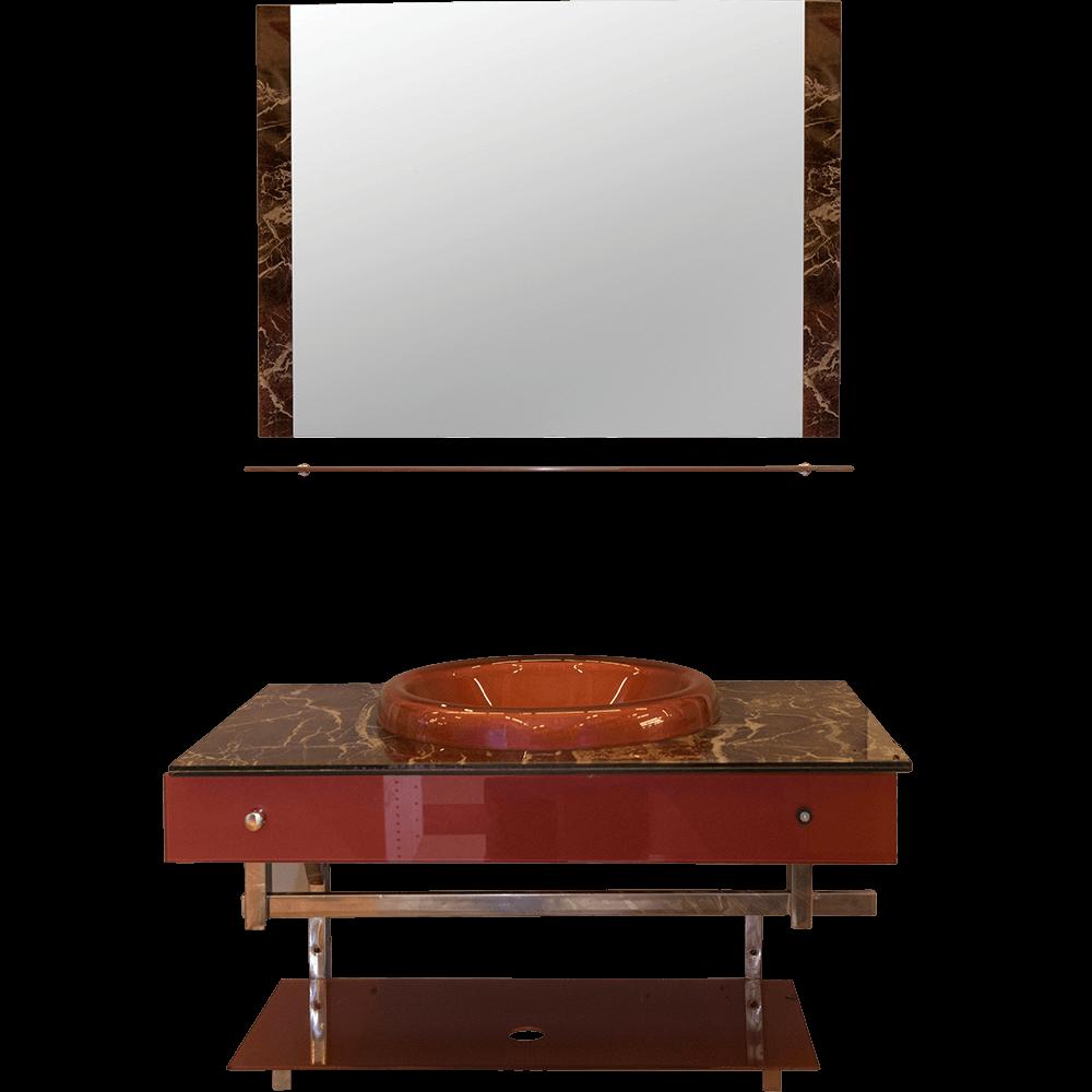Set mobilier baie, sticla, rosu imagine 2021 mathaus