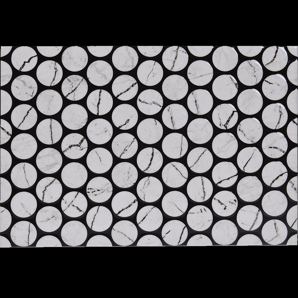 Faianta Pompei 1 Tip1, alb, aspect de marmura cu cercuri, lucioasa, 40 x 27.5 cm imagine MatHaus.ro