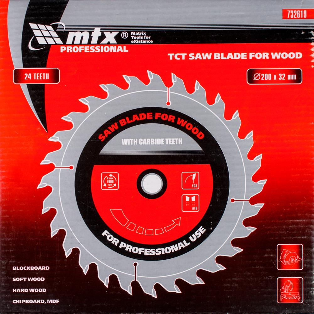 Disc debitare lemn, MTX, 200 х 32 mm, 24 dinti, bucsa 30/32